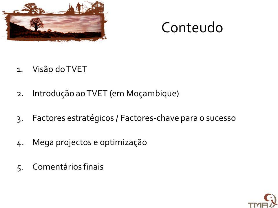 Conteudo 1.Visão do TVET 2.Introdução ao TVET (em Moçambique) 3.Factores estratégicos / Factores-chave para o sucesso 4.Mega projectos e optimização 5.Comentários finais