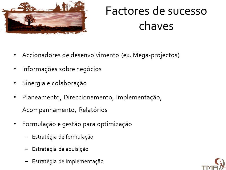 Factores de sucesso chaves • Accionadores de desenvolvimento (ex.