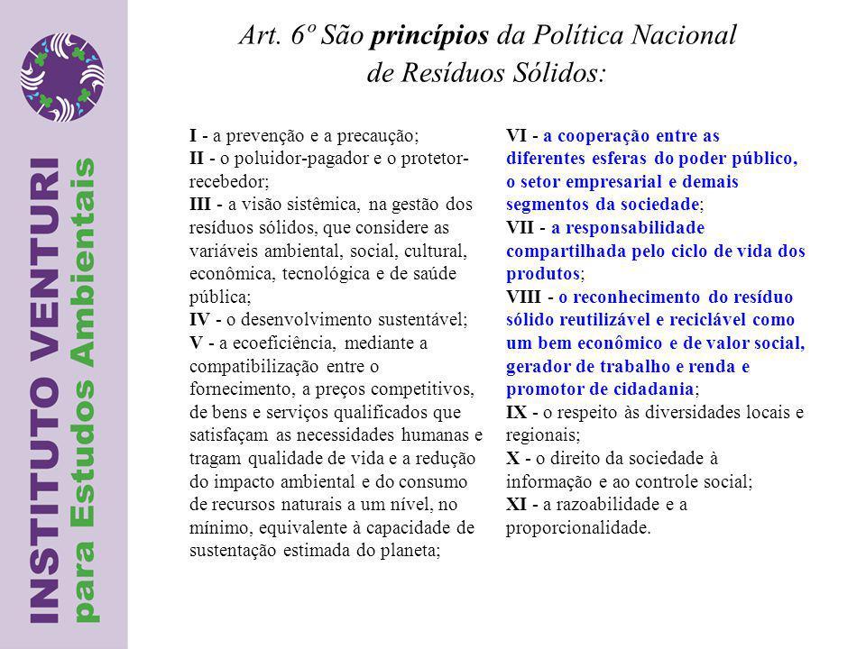 Art. 6º São princípios da Política Nacional de Resíduos Sólidos: I - a prevenção e a precaução; II - o poluidor-pagador e o protetor- recebedor; III -