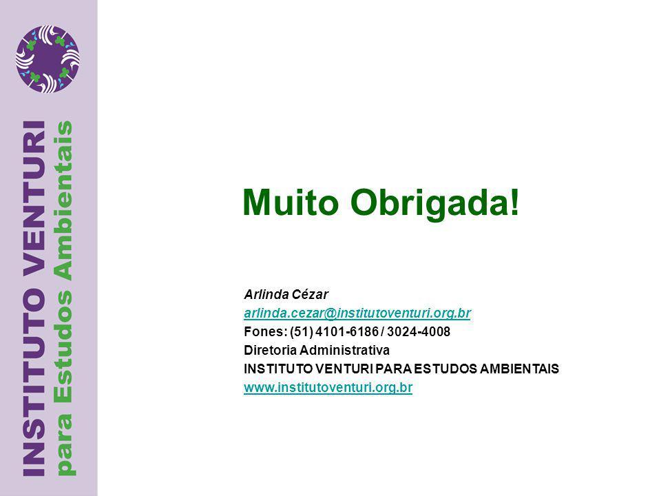 Arlinda Cézar arlinda.cezar@institutoventuri.org.br Fones: (51) 4101-6186 / 3024-4008 Diretoria Administrativa INSTITUTO VENTURI PARA ESTUDOS AMBIENTAIS www.institutoventuri.org.br Muito Obrigada!