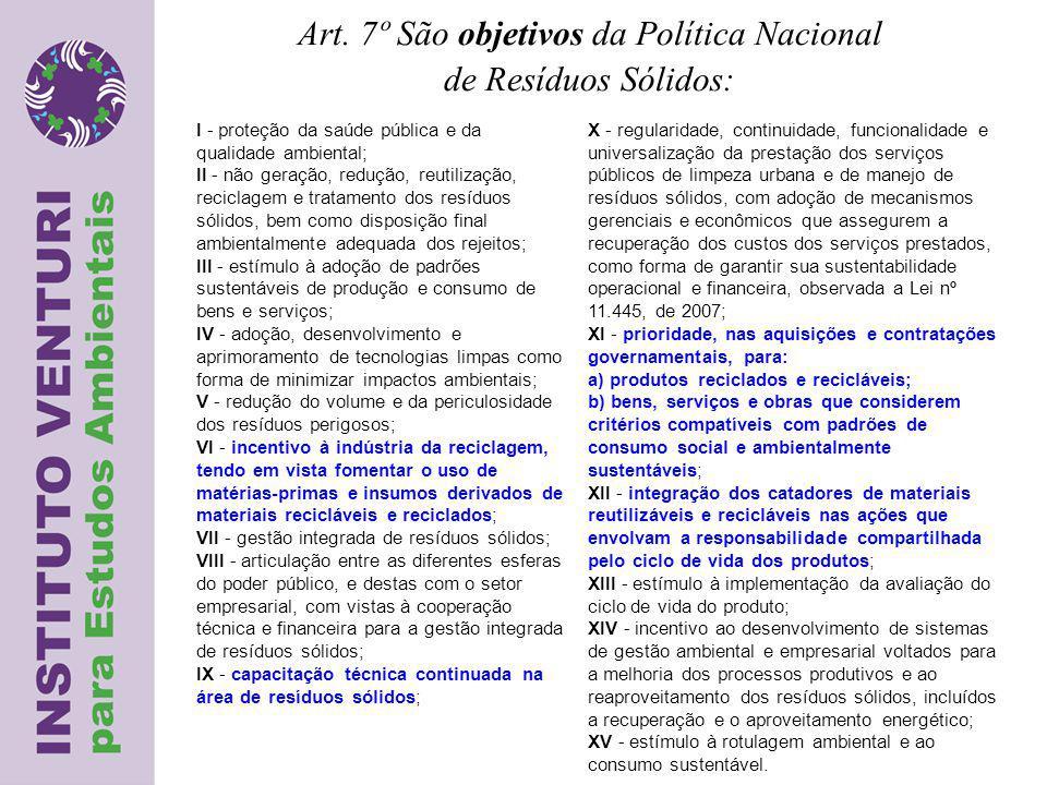 Art. 7º São objetivos da Política Nacional de Resíduos Sólidos: I - proteção da saúde pública e da qualidade ambiental; II - não geração, redução, reu