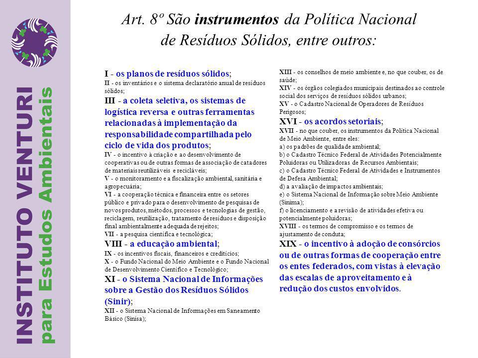 Art. 8º São instrumentos da Política Nacional de Resíduos Sólidos, entre outros: I - os planos de resíduos sólidos; II - os inventários e o sistema de