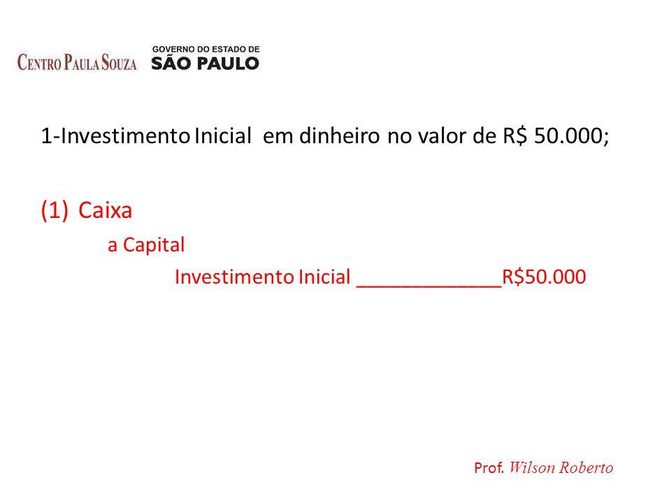 1-Investimento Inicial em dinheiro no valor de R$ 50.000; (1)Caixa a Capital Investimento Inicial _____________R$50.000 Prof. Wilson Roberto