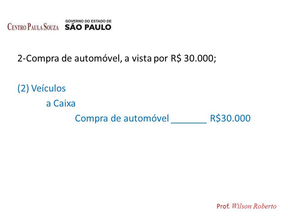 2-Compra de automóvel, a vista por R$ 30.000; (2) Veículos a Caixa Compra de automóvel _______ R$30.000 Prof. Wilson Roberto