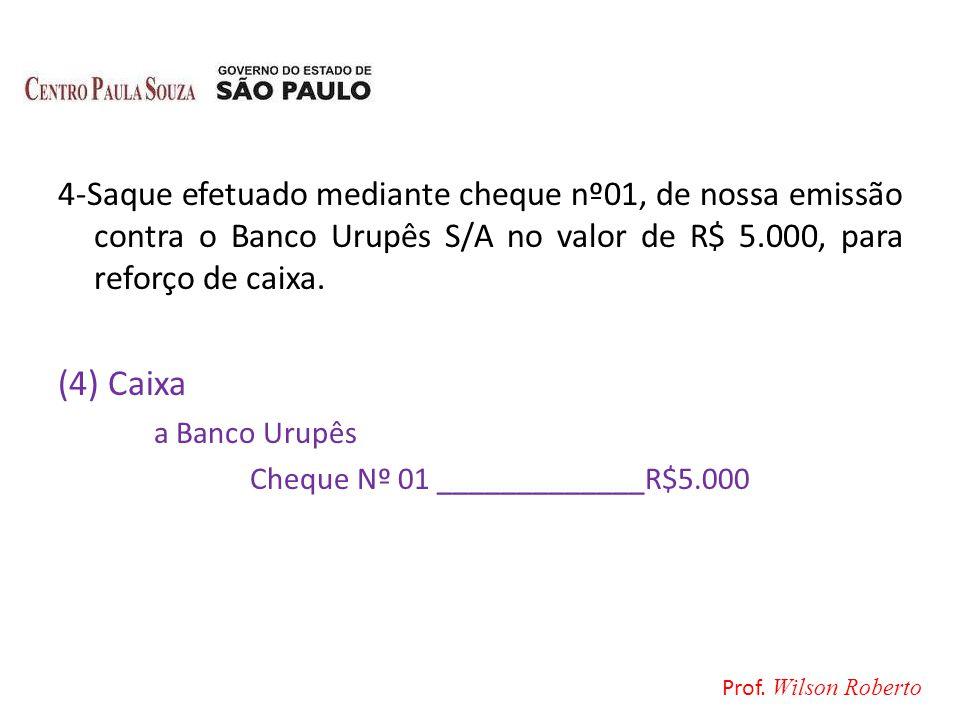 4-Saque efetuado mediante cheque nº01, de nossa emissão contra o Banco Urupês S/A no valor de R$ 5.000, para reforço de caixa. (4) Caixa a Banco Urupê