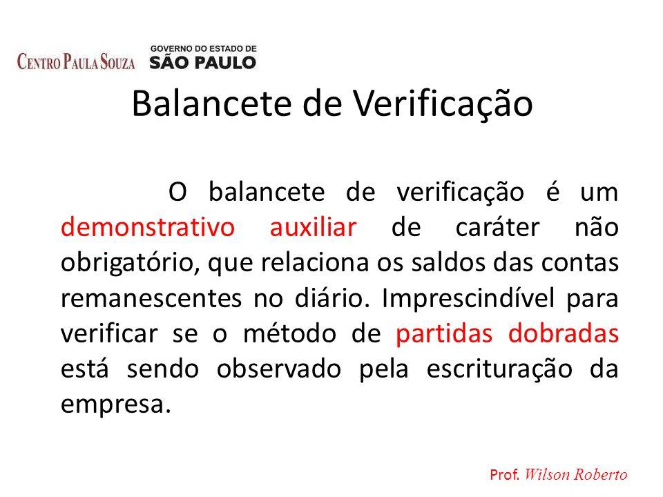 Balancete de Verificação O balancete de verificação é um demonstrativo auxiliar de caráter não obrigatório, que relaciona os saldos das contas remanes