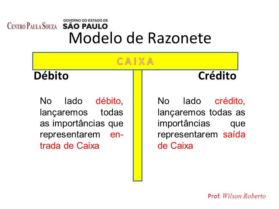 Modelo de Razonete Débito Crédito No lado débito, lançaremos todas as importâncias que representarem en- trada de Caixa No lado crédito, lançaremos to