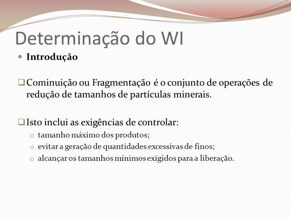 Determinação do WI  Work Index – WI  DETERMINAÇÃO DO WI PARA MOINHO DE BOLAS 1) A amostra de 10Kg deve ser representativa do minério.