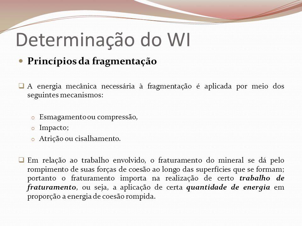 Determinação do WI  Leis da Fragmentação  Lei de Rittinger - 1867 O trabalho necessário para realizar a fragmentação é proporcional à superfície nova nela gerada E = k 1 (1/P – 1/F ) E = Energia gasta em kWh/t; k 1 = constante dependente do tipo de minério; P = tamanho máximo das partículas geradas no produto; F = tamanho máximo das partículas da alimentação;
