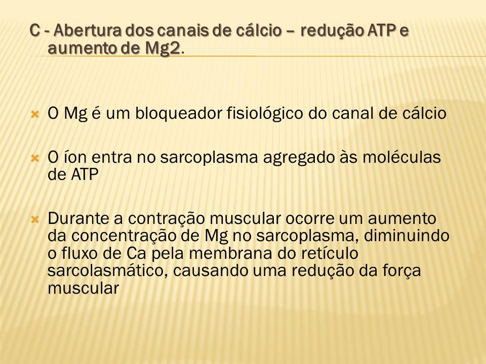 C - Abertura dos canais de cálcio – redução ATP e aumento de Mg2 C - Abertura dos canais de cálcio – redução ATP e aumento de Mg2.  O Mg é um bloquea