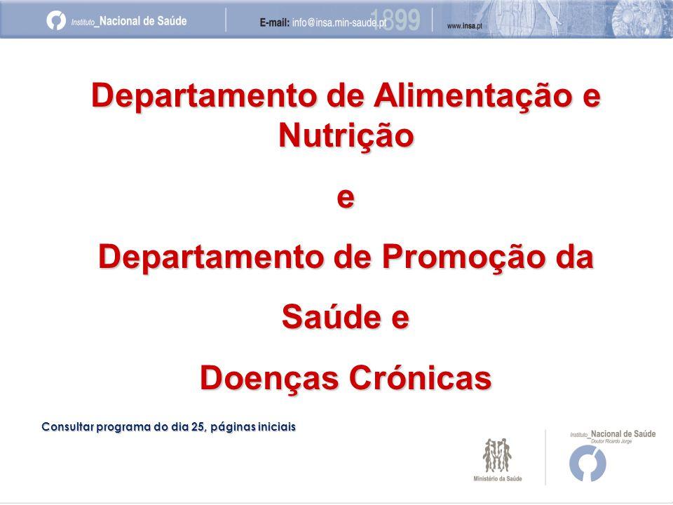 Departamento de Alimentação e Nutrição e Departamento de Promoção da Saúde e Doenças Crónicas Consultar programa do dia 25, páginas iniciais