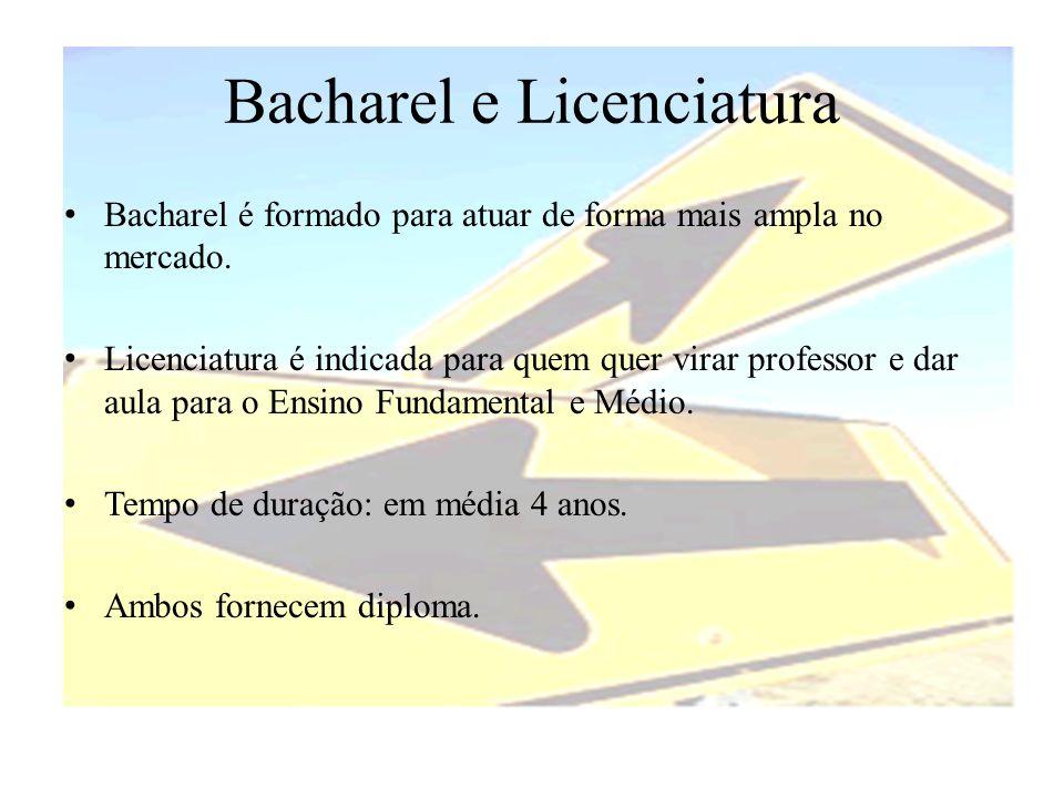 Bacharel e Licenciatura • Bacharel é formado para atuar de forma mais ampla no mercado. • Licenciatura é indicada para quem quer virar professor e dar