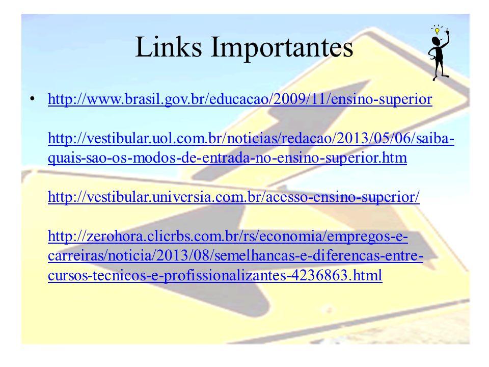 Links Importantes • http://www.brasil.gov.br/educacao/2009/11/ensino-superior http://vestibular.uol.com.br/noticias/redacao/2013/05/06/saiba- quais-sa
