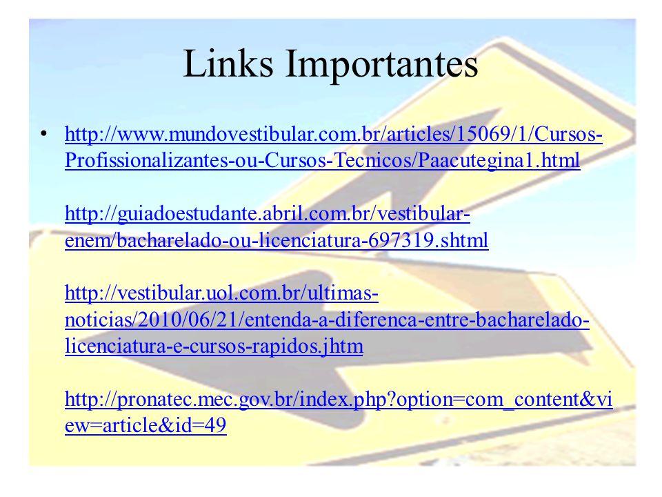 Links Importantes • http://www.mundovestibular.com.br/articles/15069/1/Cursos- Profissionalizantes-ou-Cursos-Tecnicos/Paacutegina1.html http://guiadoe