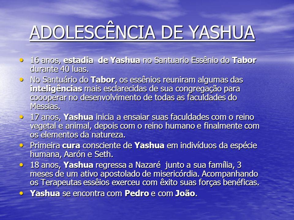 INFÂNCIA DE YASHUA - 10 anos Yashua conhece Pedro (24 anos) no Santuário do Monte Tabor. - 12 anos, primeira viajem à Jerusalém, nascimento de João Ev