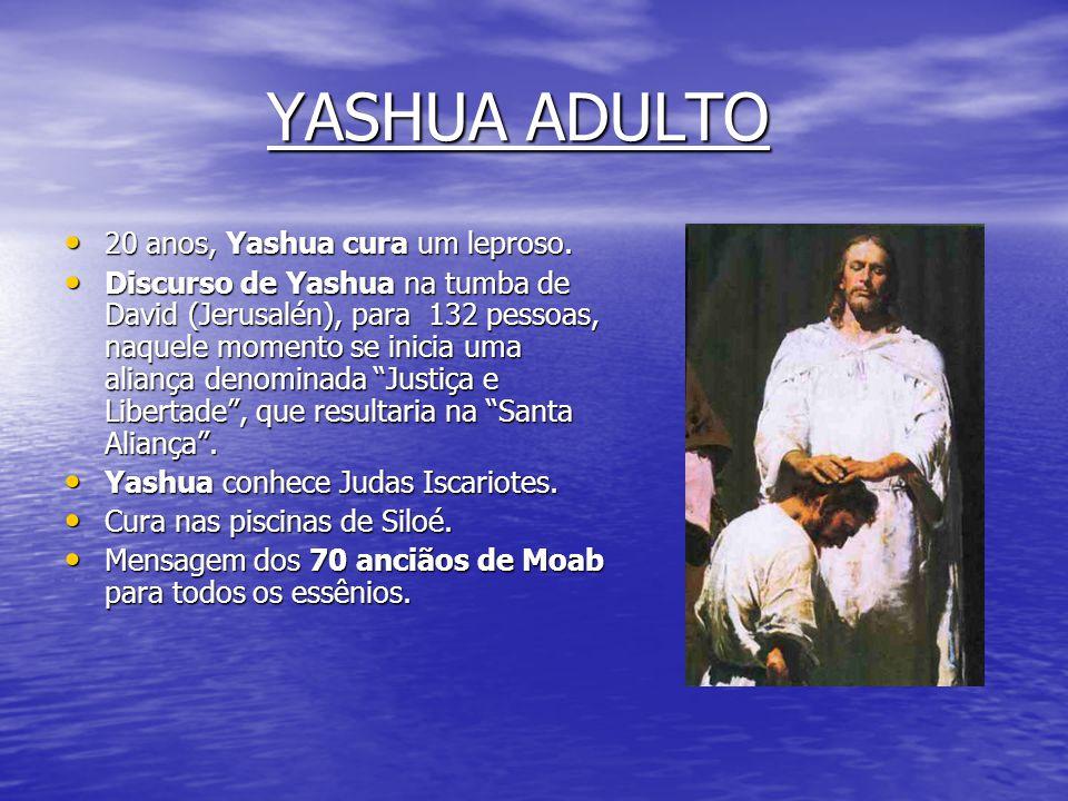 ADOLESCÊNCIA DE YASHUA • 16 anos, estadia de Yashua no Santuario Essênio do Tabor durante 40 luas. • No Santuário do Tabor, os essênios reuniram algum