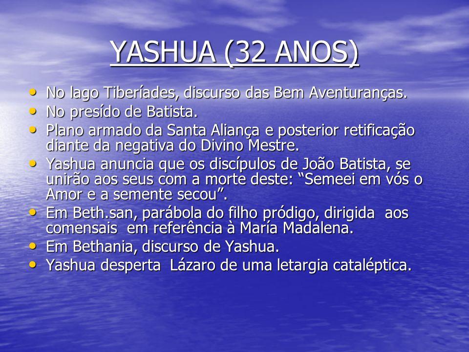 YASHUA (31 ANOS) • Os 31 anos, Yashua os passa quase todo no Lago de Galilea, na margem ocidental. • Discurso de la paternidad de Dios. • María de Mad