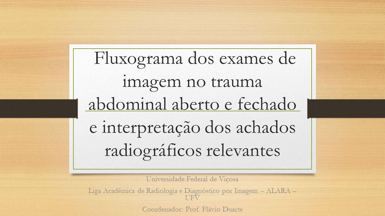 TC: DD fluido abdominal • Líquido intraperitoneal com baixa atenuação (< 15 UH): • Traumático: ruptura de bexiga, perfuração de alça com fluido • Não traumático: ascite, líquido dialítico, peritonite (por TB), ruptura de cisto ovariano.