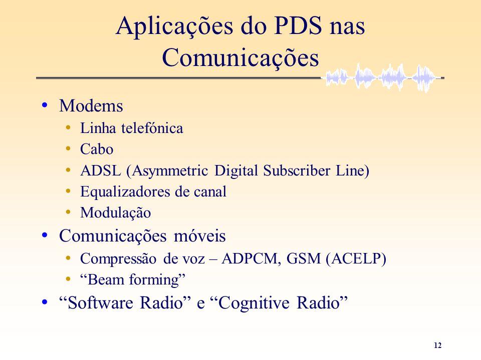 12 Aplicações do PDS nas Comunicações • Modems • Linha telefónica • Cabo • ADSL (Asymmetric Digital Subscriber Line) • Equalizadores de canal • Modula