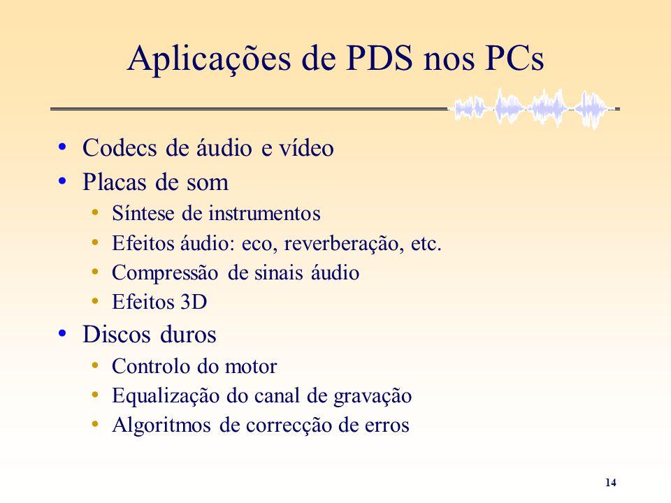14 Aplicações de PDS nos PCs • Codecs de áudio e vídeo • Placas de som • Síntese de instrumentos • Efeitos áudio: eco, reverberação, etc. • Compressão