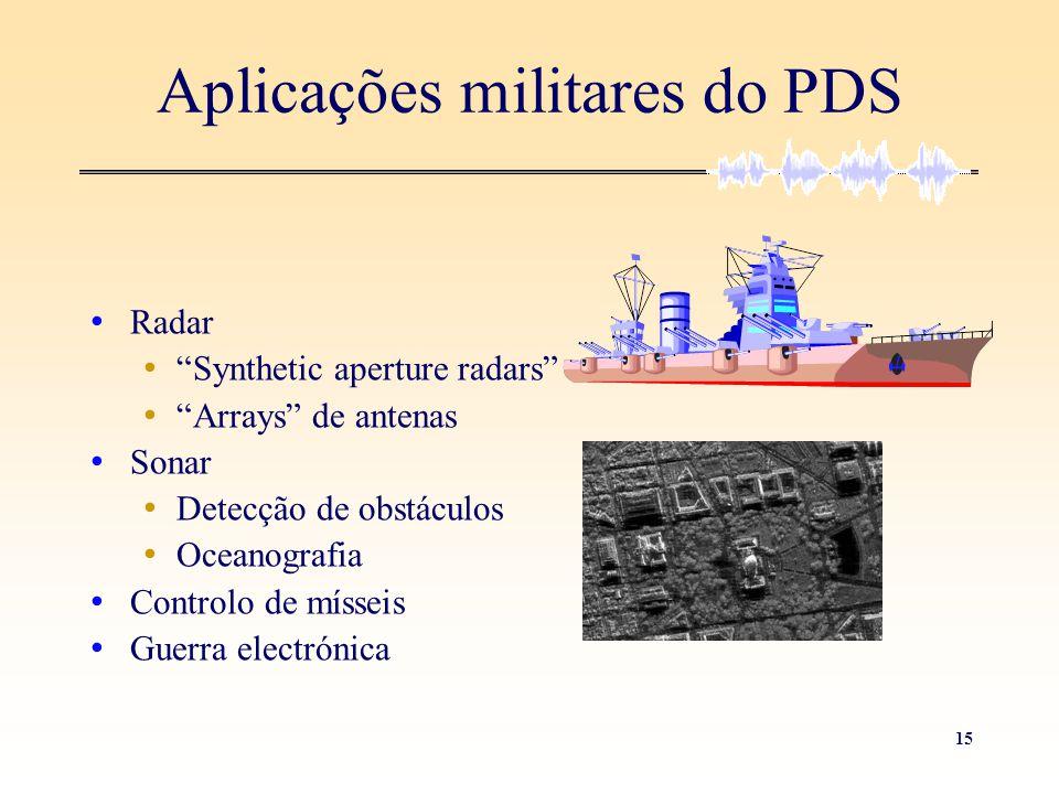 """15 Aplicações militares do PDS • Radar • """"Synthetic aperture radars"""" • """"Arrays"""" de antenas • Sonar • Detecção de obstáculos • Oceanografia • Controlo"""