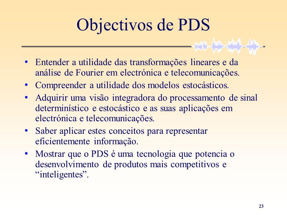 23 Objectivos de PDS • Entender a utilidade das transformações lineares e da análise de Fourier em electrónica e telecomunicações. • Compreender a uti