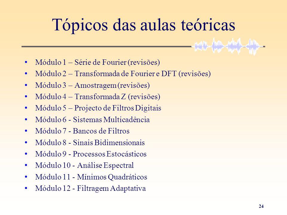 24 Tópicos das aulas teóricas • Módulo 1 – Série de Fourier (revisões) • Módulo 2 – Transformada de Fourier e DFT (revisões) • Módulo 3 – Amostragem (