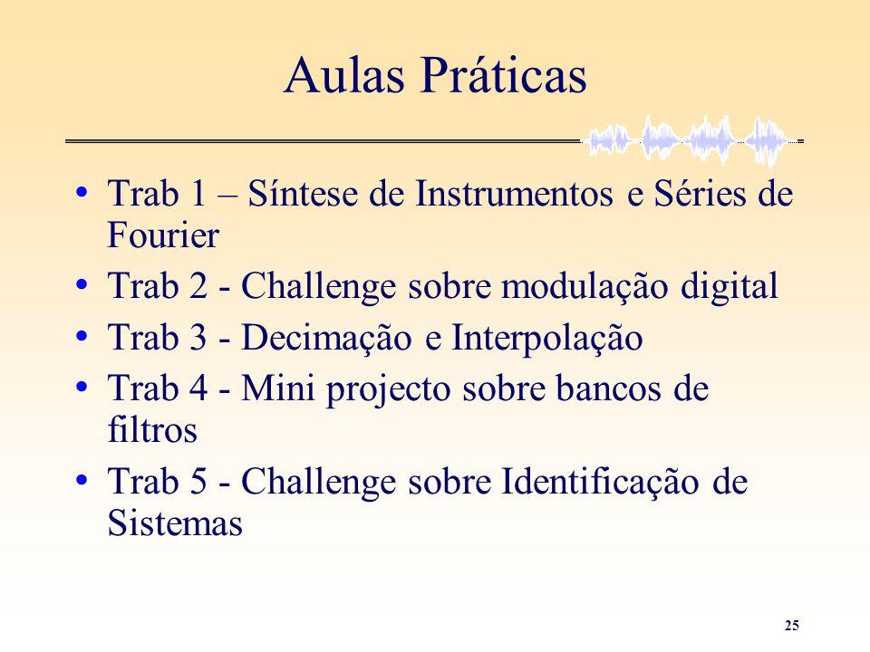 25 Aulas Práticas • Trab 1 – Síntese de Instrumentos e Séries de Fourier • Trab 2 - Challenge sobre modulação digital • Trab 3 - Decimação e Interpola