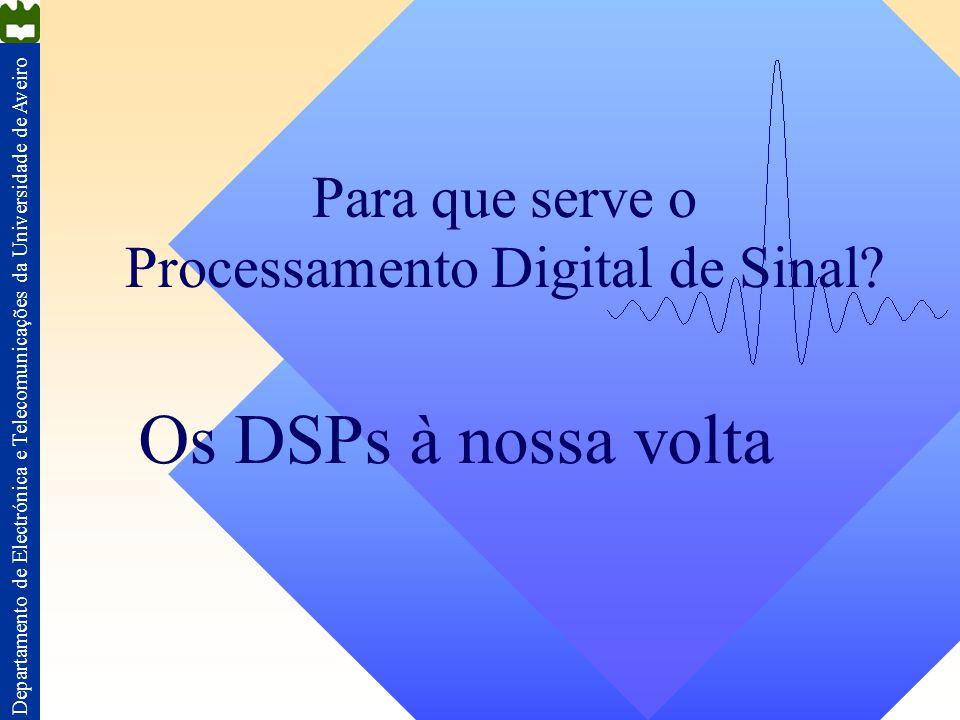 Departamento de Electrónica e Telecomunicações da Universidade de Aveiro Para que serve o Processamento Digital de Sinal? Os DSPs à nossa volta