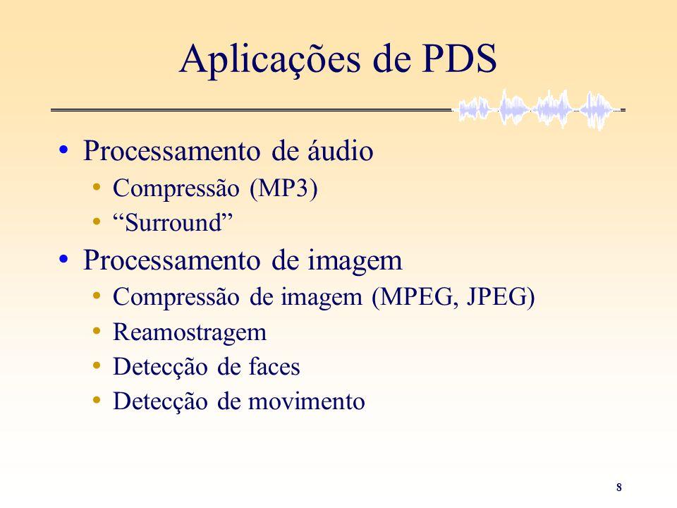 """8 Aplicações de PDS • Processamento de áudio • Compressão (MP3) • """"Surround"""" • Processamento de imagem • Compressão de imagem (MPEG, JPEG) • Reamostra"""