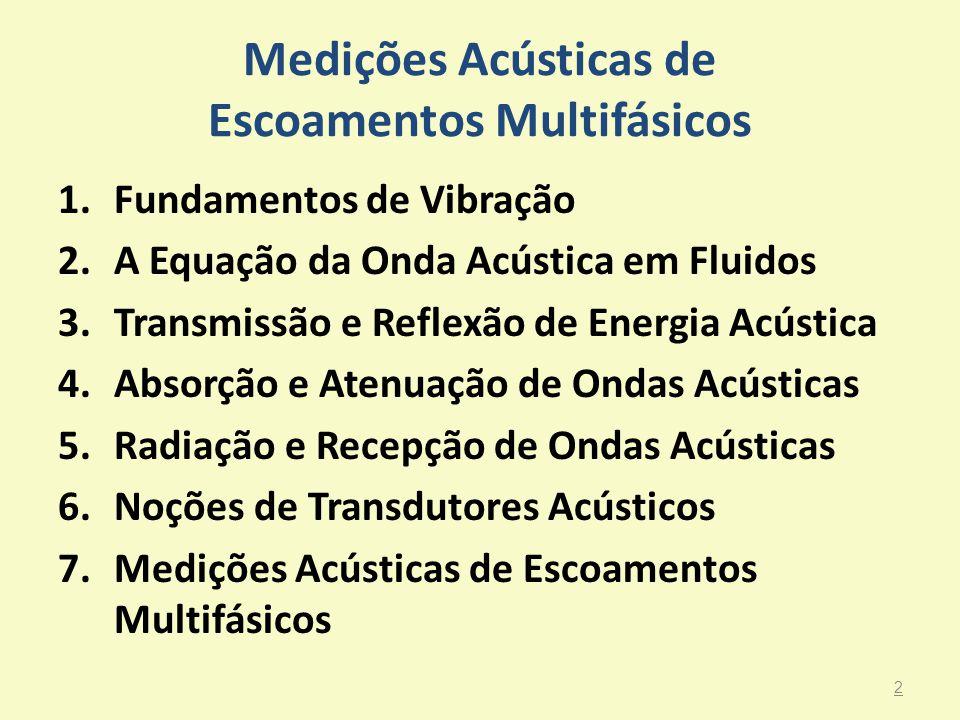Medições Acústicas de Escoamentos Multifásicos 1.Fundamentos de Vibração 2.A Equação da Onda Acústica em Fluidos 3.Transmissão e Reflexão de Energia A