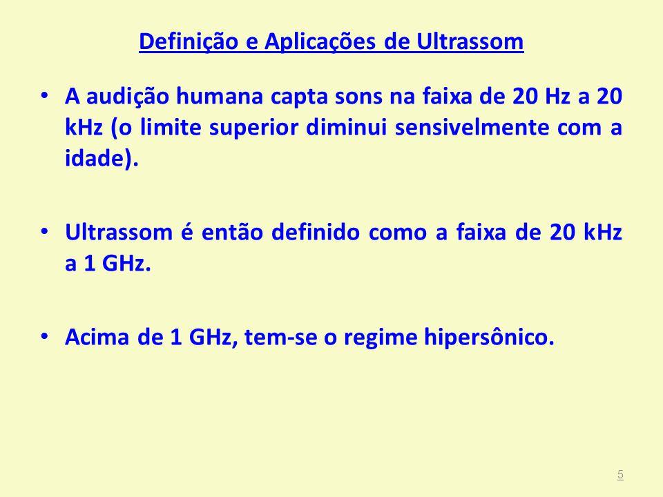 Definição e Aplicações de Ultrassom • A audição humana capta sons na faixa de 20 Hz a 20 kHz (o limite superior diminui sensivelmente com a idade). •