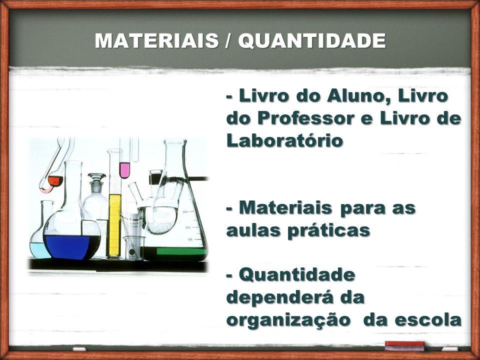 MATERIAIS / QUANTIDADE - Livro do Aluno, Livro do Professor e Livro de Laboratório - Materiais para as aulas práticas - Quantidade dependerá da organização da escola