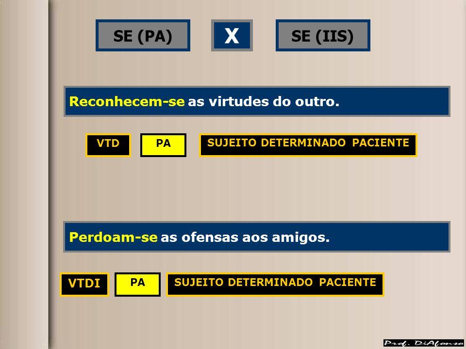 SE (PA)SE (IIS) X PAVTD VTDI SUJEITO DETERMINADO PACIENTE Reconhece-se as virtudes do outro.Reconhecem-se as virtudes do outro.