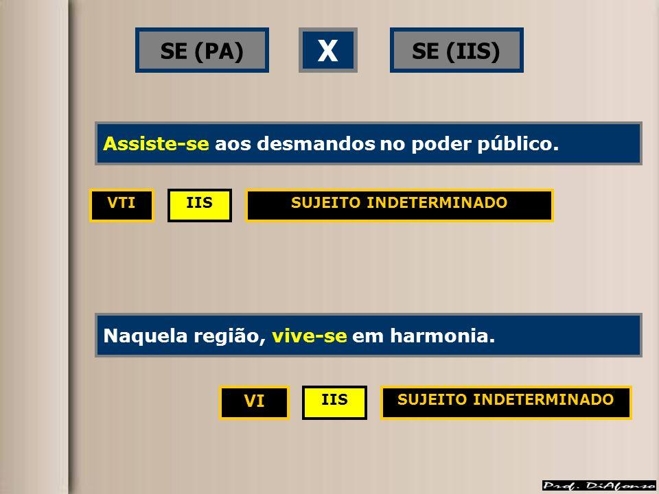 SE (PA)SE (IIS) X IISVTI VI SUJEITO INDETERMINADO Assistem-se aos desmandos no poder público.Assiste-se aos desmandos no poder público.