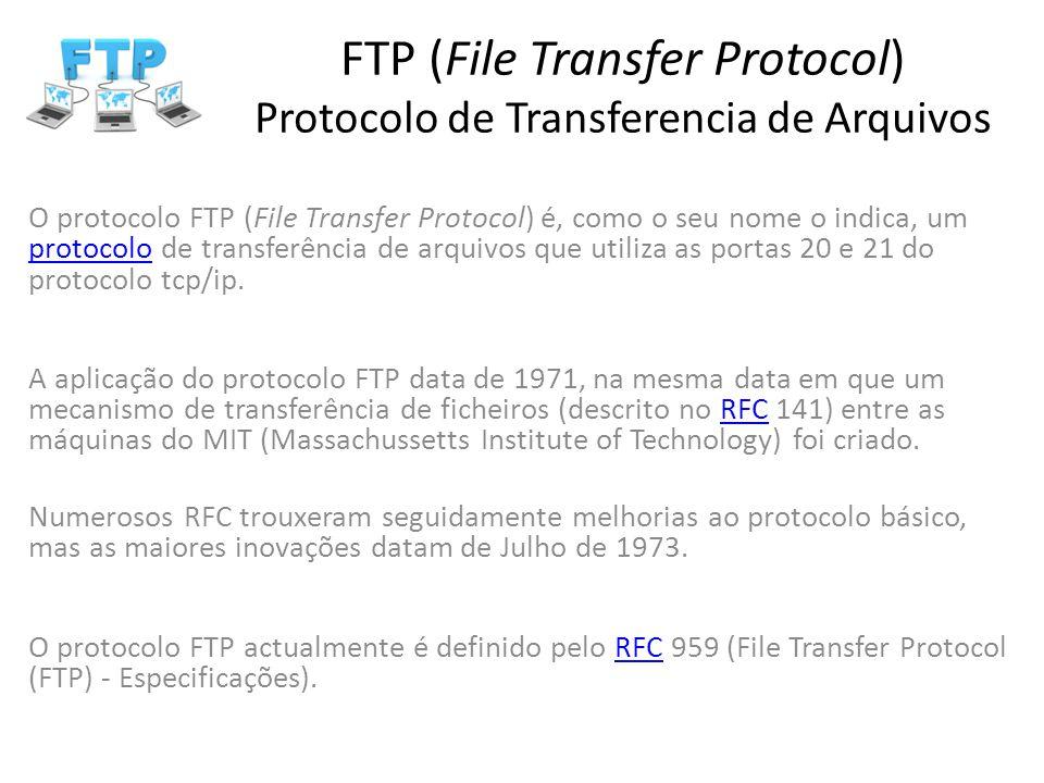 O protocolo FTP (File Transfer Protocol) é, como o seu nome o indica, um protocolo de transferência de arquivos que utiliza as portas 20 e 21 do proto