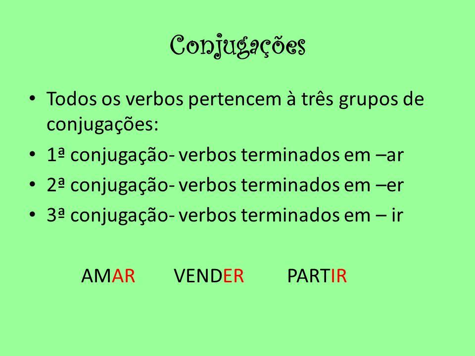 Conjugações • Todos os verbos pertencem à três grupos de conjugações: • 1ª conjugação- verbos terminados em –ar • 2ª conjugação- verbos terminados em