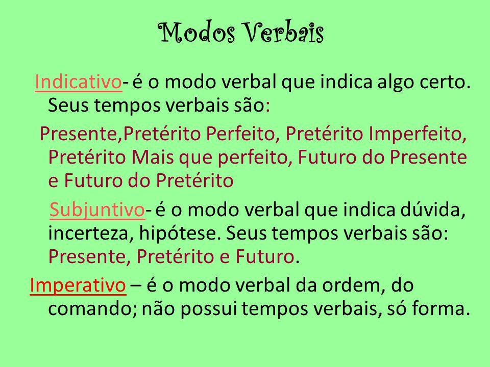 Modos Verbais Indicativo- é o modo verbal que indica algo certo. Seus tempos verbais são: Presente,Pretérito Perfeito, Pretérito Imperfeito, Pretérito