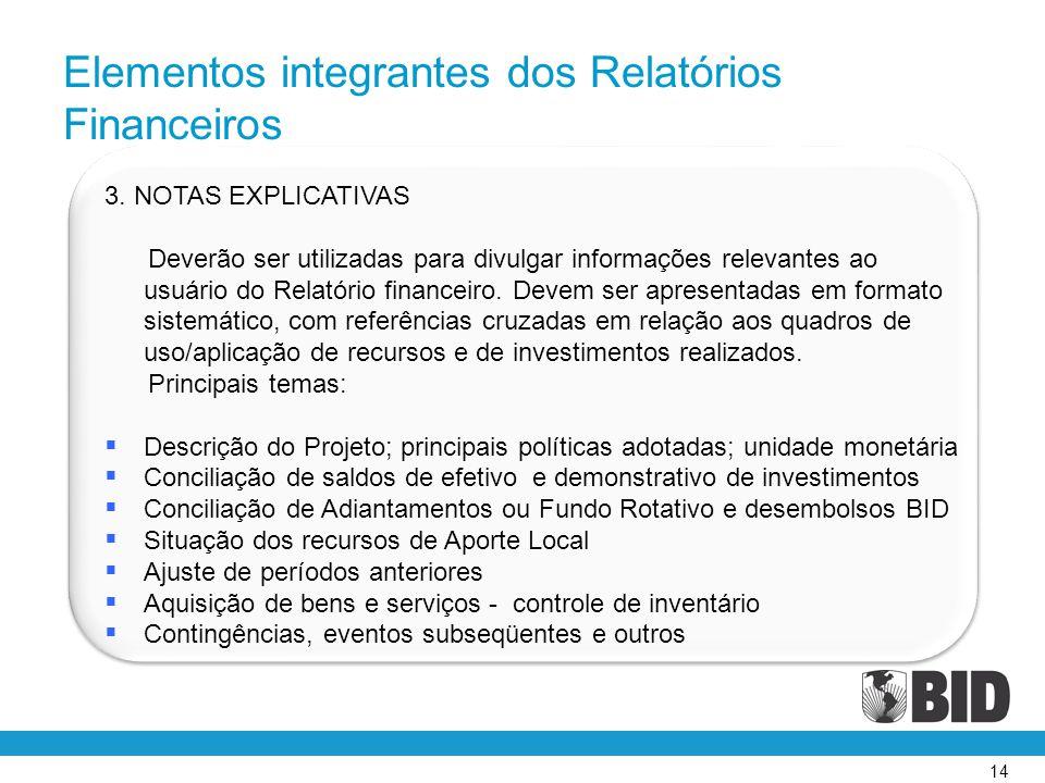 14 3. NOTAS EXPLICATIVAS Deverão ser utilizadas para divulgar informações relevantes ao usuário do Relatório financeiro. Devem ser apresentadas em for