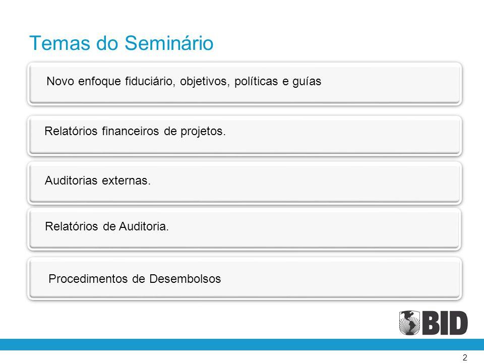 2 Novo enfoque fiduciário, objetivos, políticas e guías Relatórios financeiros de projetos. Auditorias externas. Relatórios de Auditoria. Procedimento