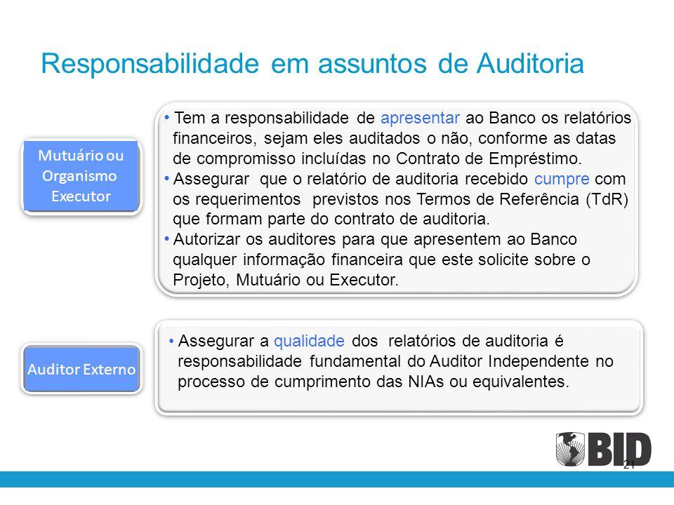 21 Auditor Externo Mutuário ou Organismo Executor • Tem a responsabilidade de apresentar ao Banco os relatórios financeiros, sejam eles auditados o nã