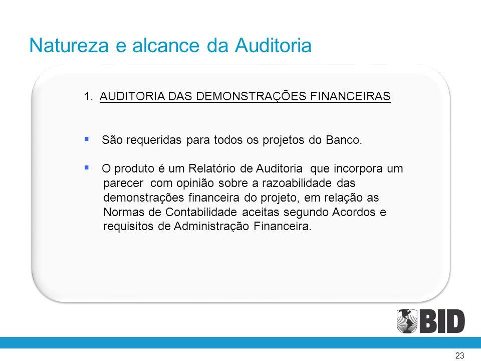23 1. AUDITORIA DAS DEMONSTRAÇÕES FINANCEIRAS  São requeridas para todos os projetos do Banco.  O produto é um Relatório de Auditoria que incorpora