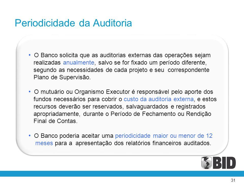 31 • O Banco solicita que as auditorias externas das operações sejam realizadas anualmente, salvo se for fixado um período diferente, segundo as neces