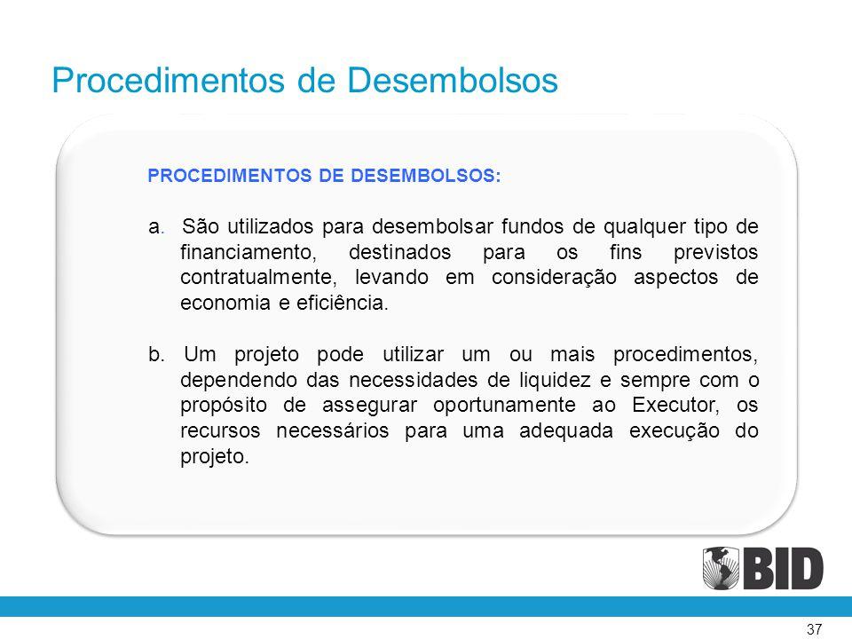 37 PROCEDIMENTOS DE DESEMBOLSOS: a. São utilizados para desembolsar fundos de qualquer tipo de financiamento, destinados para os fins previstos contra
