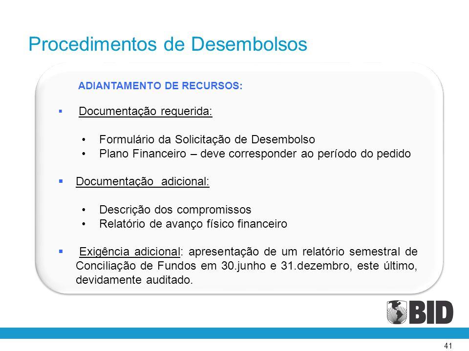 41 ADIANTAMENTO DE RECURSOS:  Documentação requerida: •Formulário da Solicitação de Desembolso •Plano Financeiro – deve corresponder ao período do pe