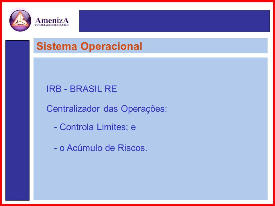 Sistema Operacional IRB - BRASIL RE Centralizador das Operações: - Controla Limites; e - o Acúmulo de Riscos.