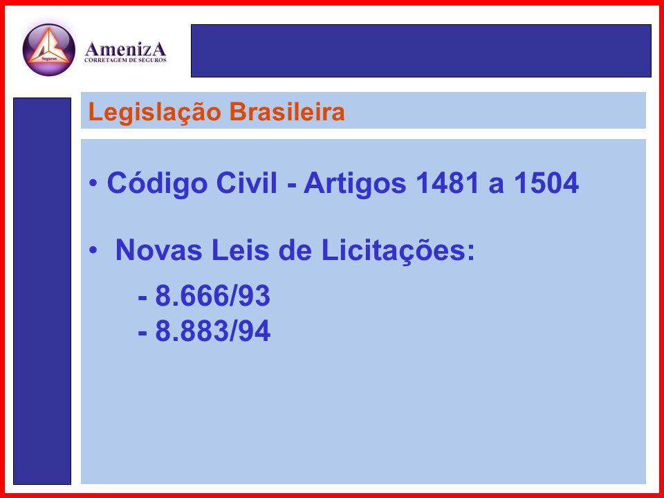 • Código Civil - Artigos 1481 a 1504 • Novas Leis de Licitações: - 8.666/93 - 8.883/94 Legislação Brasileira