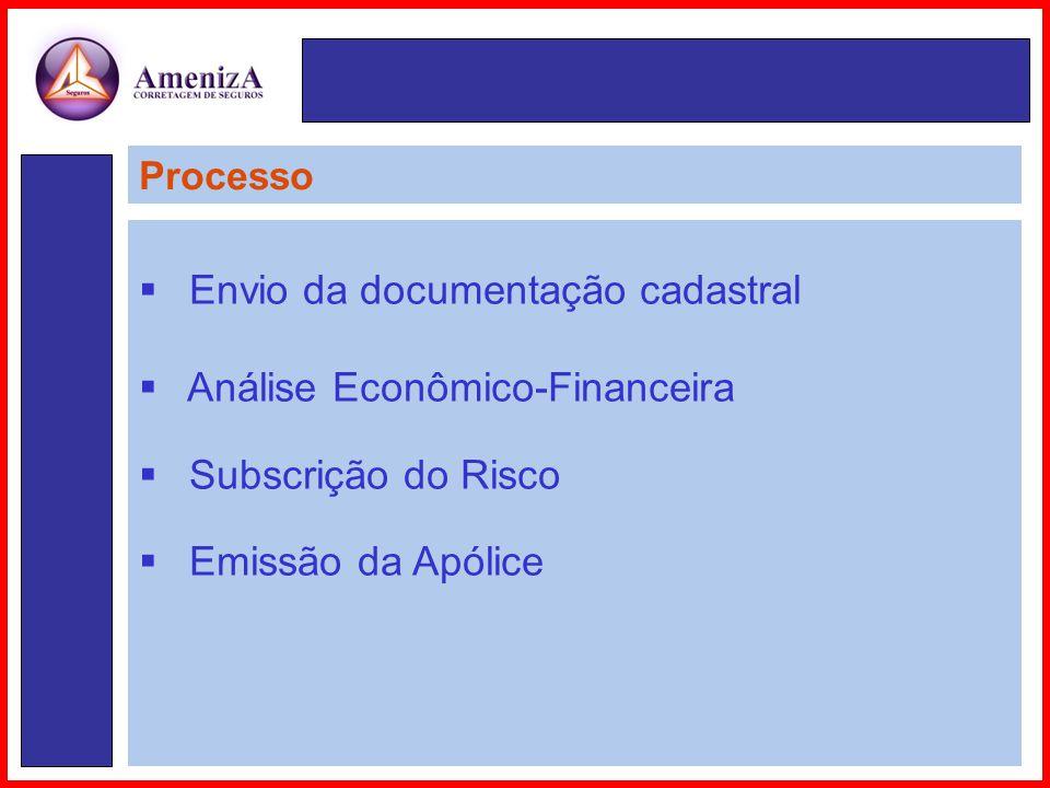 Processo  Envio da documentação cadastral  Análise Econômico-Financeira  Subscrição do Risco  Emissão da Apólice