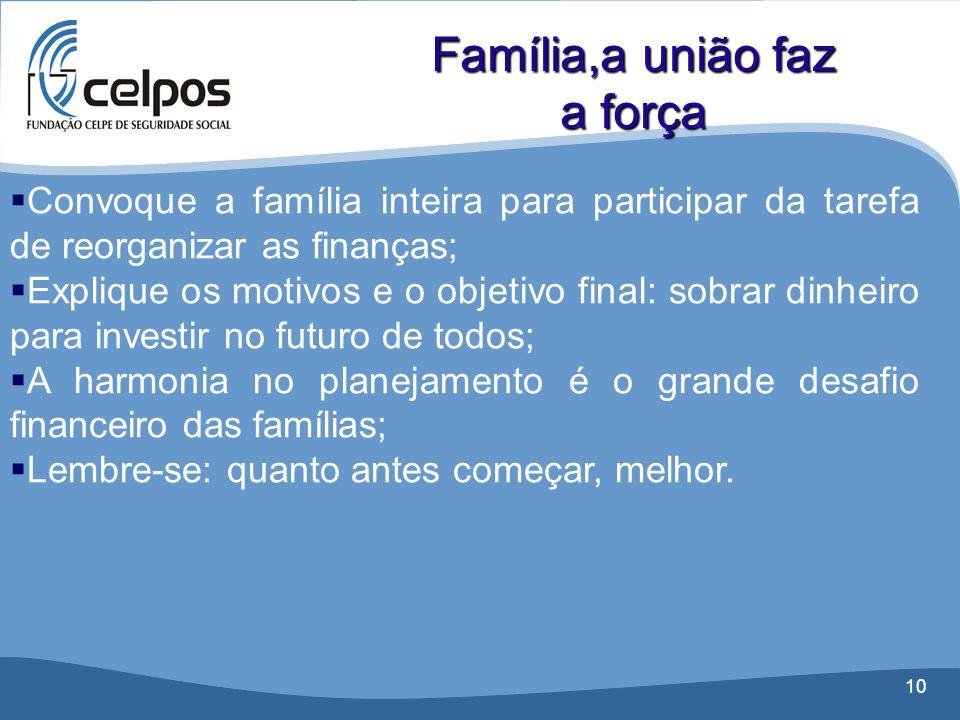10  Convoque a família inteira para participar da tarefa de reorganizar as finanças;  Explique os motivos e o objetivo final: sobrar dinheiro para i