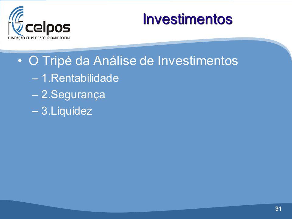 31 •O Tripé da Análise de Investimentos –1.Rentabilidade –2.Segurança –3.Liquidez Investimentos